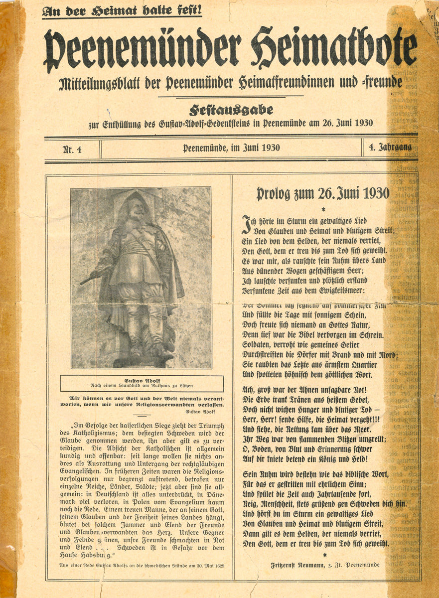 Peenemünder Heimatbote, Mitteilungsblatt der Peenemünder Heimatfreundinnen und -freunde, Heftausgabe zur Enthüllung des Gustav-Adolf-Gedenksteins in Peenemünde am 26. Juni 1930, 4. Jahrgang, Nr. 4, Peenemünde 1930 (HTM Peenemünde, Archiv)