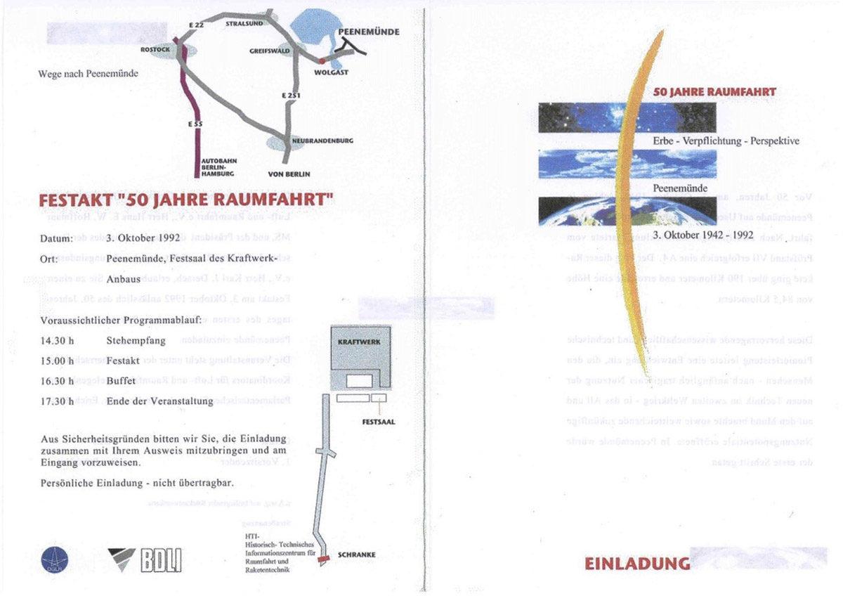 """Einladungskarte zum Festakt 1992 unter dem Motto """"50 Jahre Raumfahrt – Erbe, Verpflichtung, Perspektive"""". (HTM Peenemünde, Archiv)"""