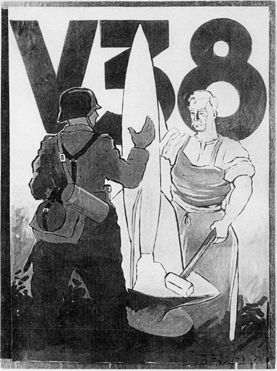 Die Raketen wurden mit kleinen, teils symbolträchtigen Bildchen als Glücksbringern ausgestattet. Auf der A4-Bemalung des Versuchsmusters 38 vom 29. Juni 1943 wurde beispielsweise ein Bild mit einem Schmied angebracht, der einem Soldaten eine Rakete überreicht. Dieses Versuchsmuster wurde vom Prüfstand VII verschossen und stürzte auf dem Flugplatz ab. Grafiker: Gerd de Beek (HTM Peenemünde, Archiv)