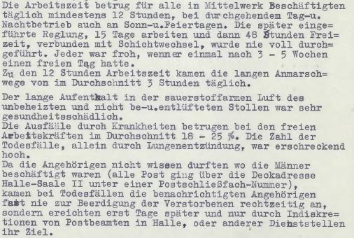 Erlebnisbericht von Friedrich Broszat aus dem Jahr 1950 über die Arbeitsbedingungen im Mittelwerk. in: Friedrich Broszat, Die Wahrheit über die V2, 1950 (HTM Peenemünde, Archiv)