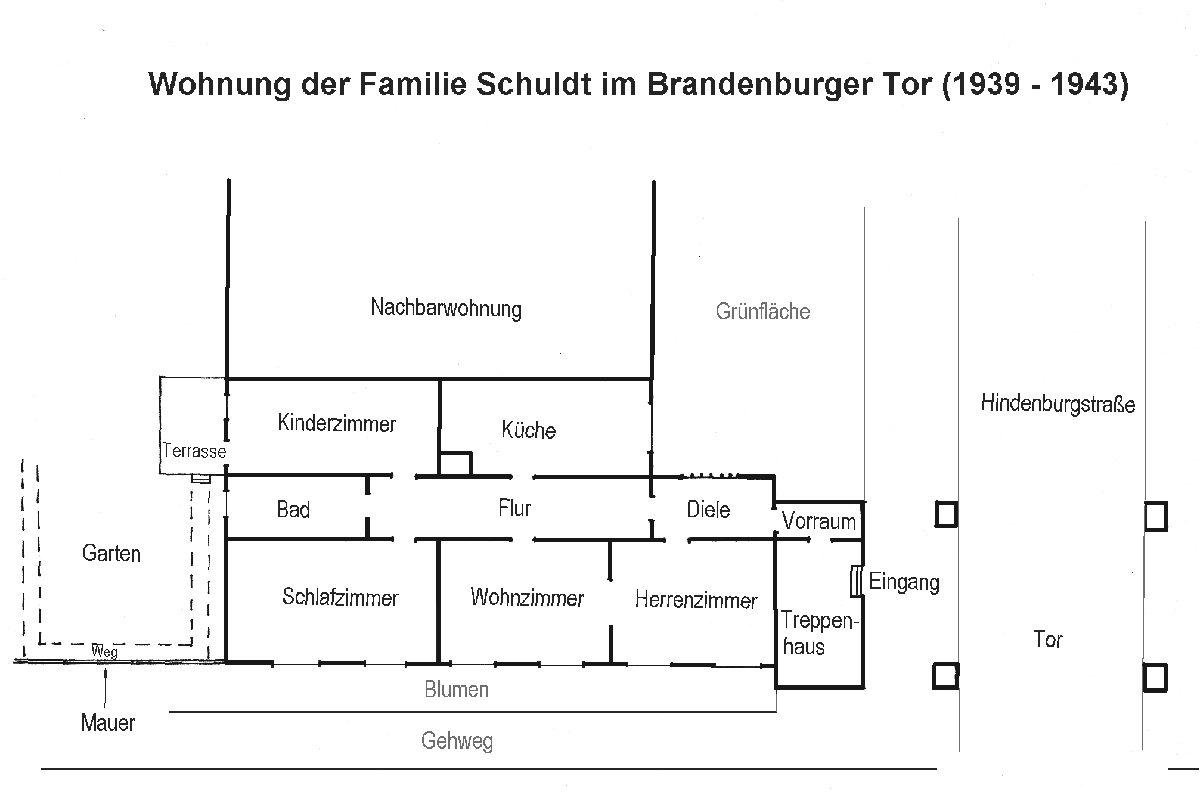 Grundriss einer Beispielwohnung in der Siedlung Karlshagen, um 1938. Grafik: Manfred Kanetzki (HTM Peenemünde, Archiv)