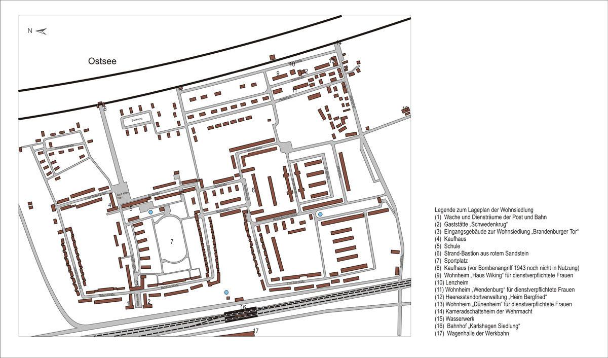 Plan der voll ausgebauten Wohnsiedlung Karlshagen 1943. (HTM Peenemünde, Archiv)