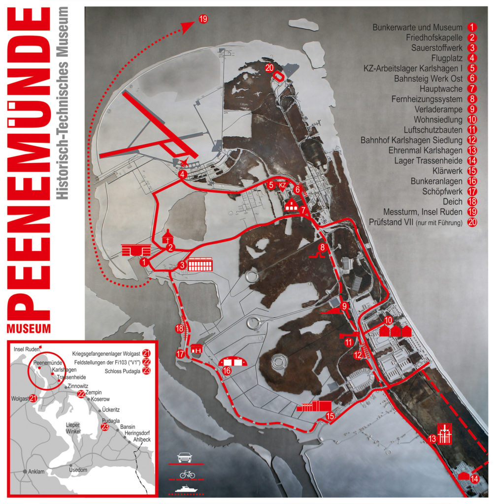 Die Karte der Denkmal-Landschaft mit 23 Stationen. (HTM Peenemünde, Archiv)
