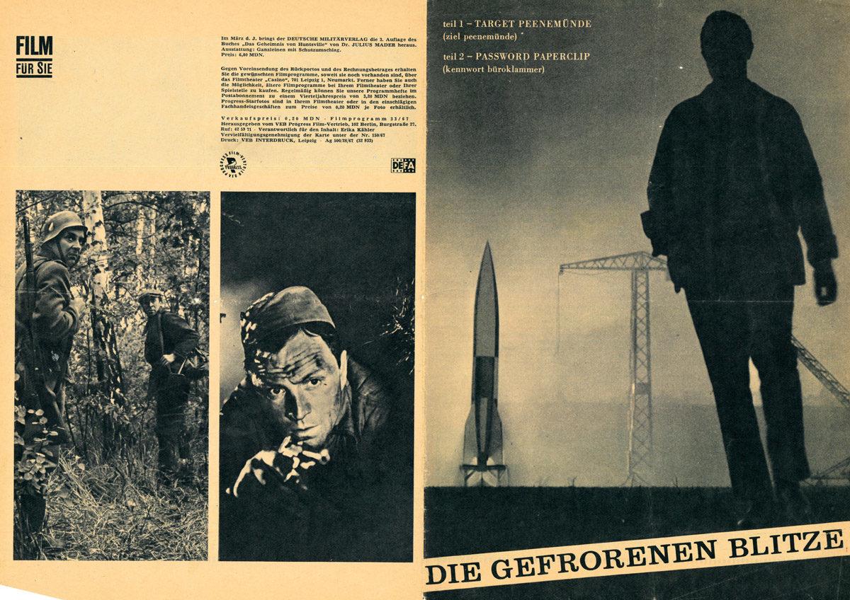 """Titelbild und Einzelbilder aus dem Film """"Die gefrorenen Blitze"""" von Regisseur János Veiczi aus dem Jahr 1967, in: Film für Sie, Nr. 33/1967.  (HTM Peenemünde, Archiv)"""