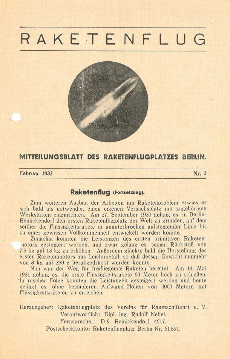 Mitteilungsblatt des Raketenflugplatzes Berlin-Reinickendorf aus dem Jahr 1932. (HTM Peenemünde, Archiv)