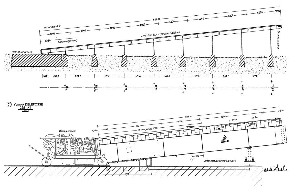 Die Konstruktionszeichnung einer Walterschleuder zeigt die volle Länge von 48,25 Metern, einem Anstieg von sechs Grad und einer maximalen Höhe von knapp über fünf Metern.  (HTM Peenemünde, Archiv)