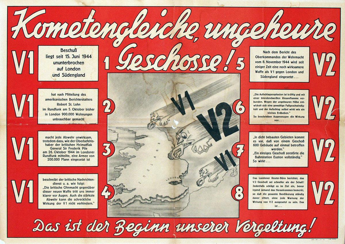 """Auf dem Propaganda-Plakat wurde die """"V1"""" als erfolgreich vermarktet, ohne ihre Leistungszahlen jedoch mit anderen Waffensystemen zu vergleichen. So sollten die vermeintlich hohen Zahlen den Betrachter beeindrucken.  (HTM Peenemünde, Archiv)"""